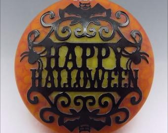 HAPPY HALLOWEEN - Sandblasted Lampwork Focal Bead  –  Made to Order - Halloween Pendant Bead - by Stephanie Gough sra fhfteam leteam