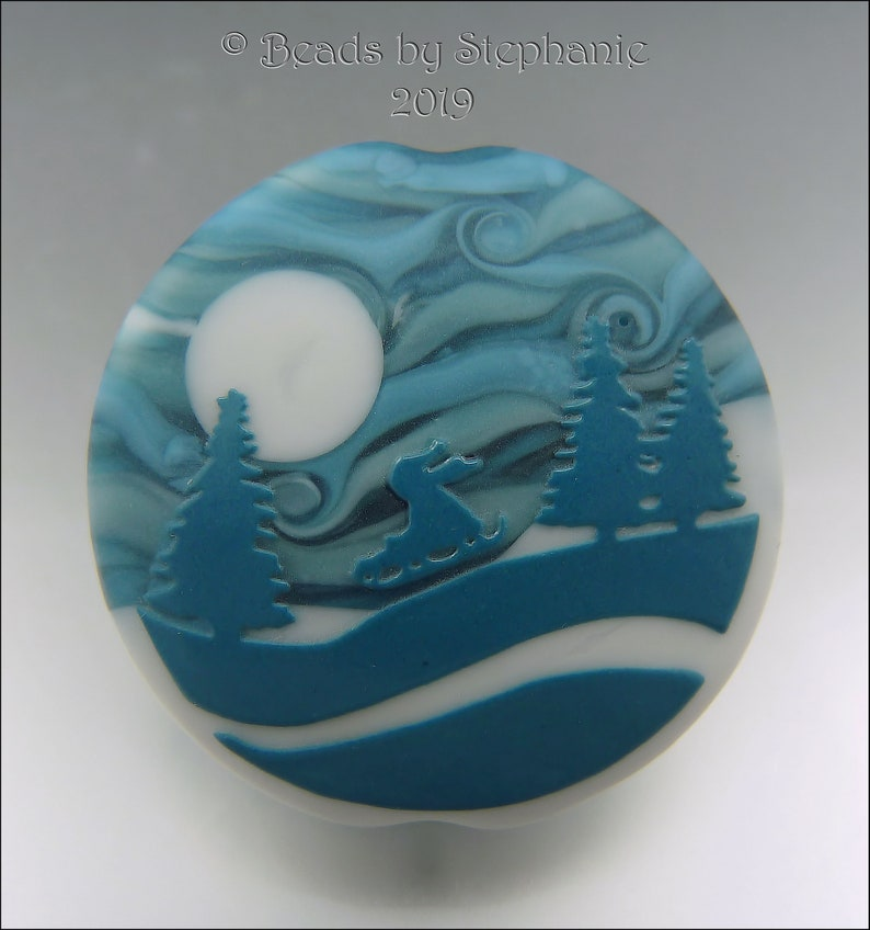 SNOW DAY   Sandblasted Lampwork Focal Bead    Made to Order image 0
