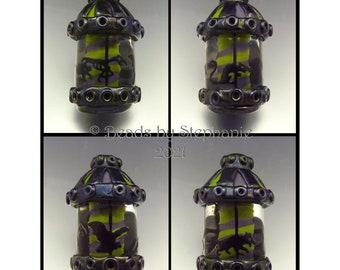 SPOOKY CAROUSEL –  Sandblasted Lampwork Focal Bead  –  Halloween Pendant Bead - by Stephanie Gough sra fhfteam leteam