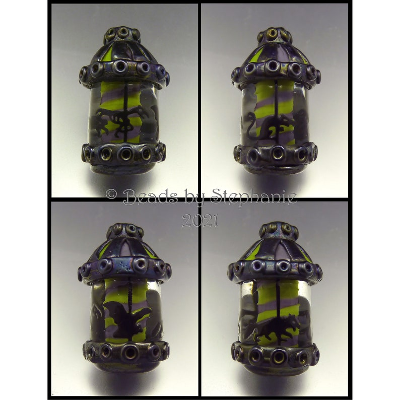SPOOKY CAROUSEL   Sandblasted Lampwork Focal Bead   image 0