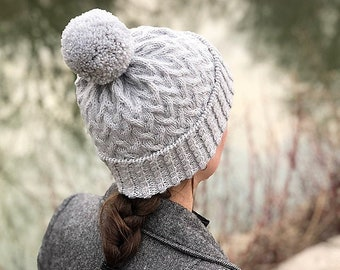 Cabled Hat Knitting PATTERN PDF, Knit Cabled Hat - Fair Lane Hat