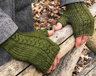 Fingerless Gloves Knitting PATTERN PDF, Knitted Fingerless Gloves Pattern, Fingerless Mitts Knitting Pattern - Lochmoor Mitts