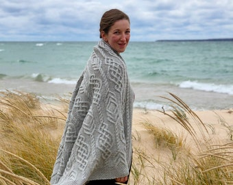 Cabled Throw Knitting PATTERN PDF, Knit Afghan, Knit Throw, Knit Blanket - Celtic Traveller Throw
