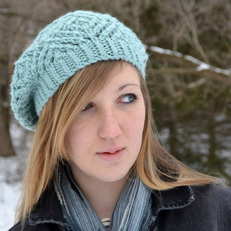 5374e9e0de842 Hat Knitting PATTERN PDF Knitted Beret Pattern Slouch Hat