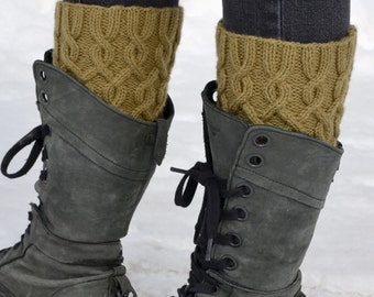 Cabled Boot Cuffs Knitting PATTERN PDF, 4-Way Knitted Boot Cuffs Pattern, Knit Boot Toppers Pattern - Entangled