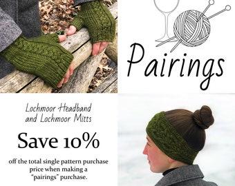 Pairings - Lochmoor Headband and Lochmoor Mitts PATTERN PDFs, Knitting Patterns