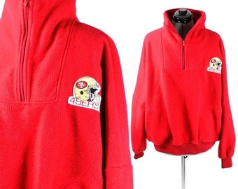 FALL CLEARANCE SALE Vintage Retro Red Nfl San Fransisco 49ers Fleece Medium  Large b9c1e792a