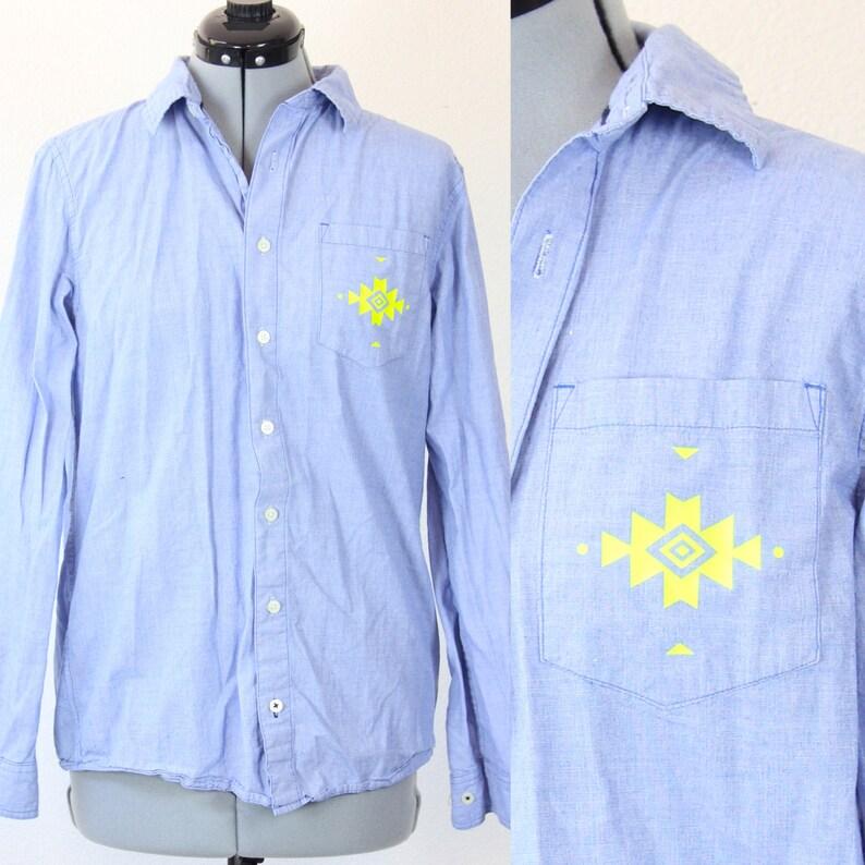 177bedd9875 SALE Vintage Retro Aztec Button Up Jean Collared Shirt