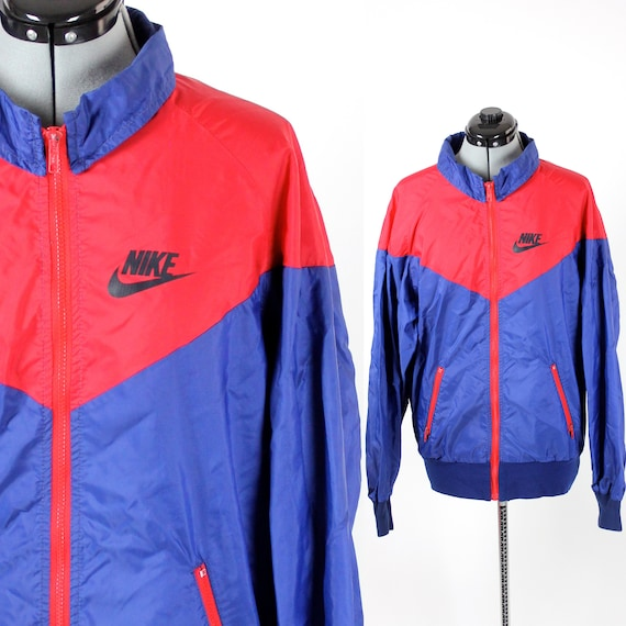 d9efbc290d6a RARE Vintage Retro Blue and Red Nike Windbreaker Size Large