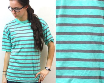 Vintage Retro Mint Green Striped Shirt