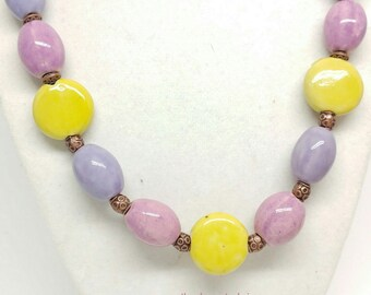 Orchid, Pink, Purple, Yellow Porcelain Necklace with Copper Accents