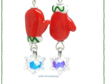 Mitten earrings - snowflakes - crystal ab - red green - Christmas - holiday - winter - dangle earrings