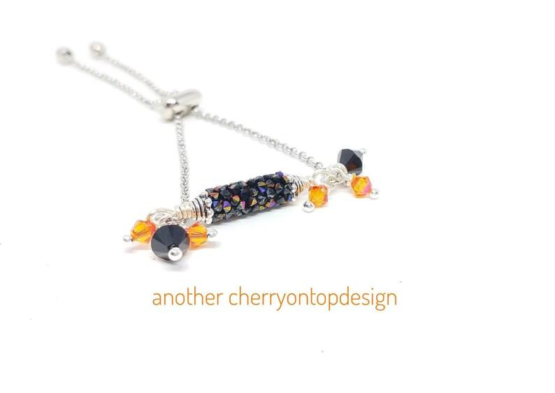 Adjustable Crystal Bracelet Swarovski crystals black and image 0