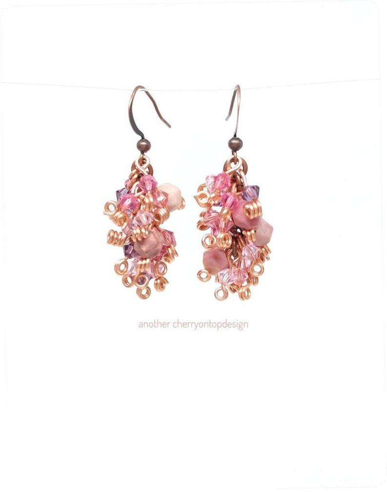 Pink Dangle Earrings copper Rhodocrosite crystals purple image 0