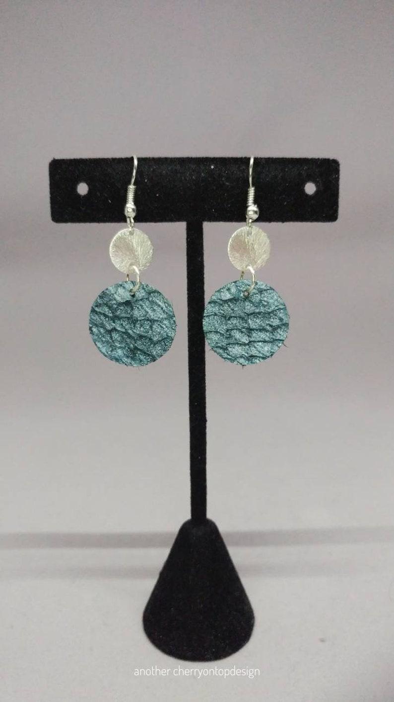 Blue and Silver Earrings dangle earrings women salmon image 0
