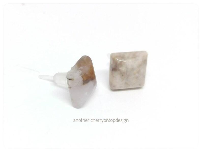 Metal free stud earrings  plastic post earrings  New image 0