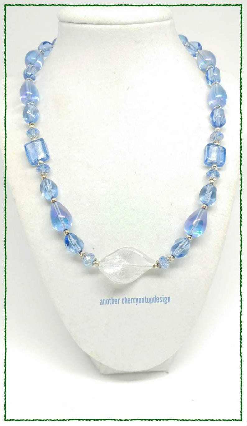 Light Blue Sapphire Crystal Glass Silver Bling Necklace image 0