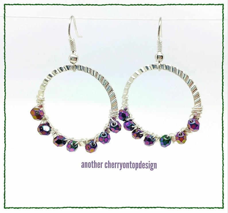 Purple and silver hoops  Czech glass  fire polish  color image 0