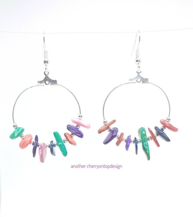 Bright colored hoop earrings mother of pearl signature piece image 0