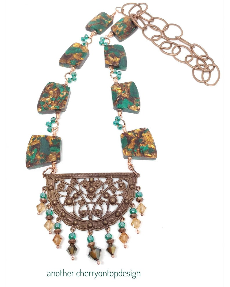 Copper and Green Statement Necklace malachite bronzite image 0