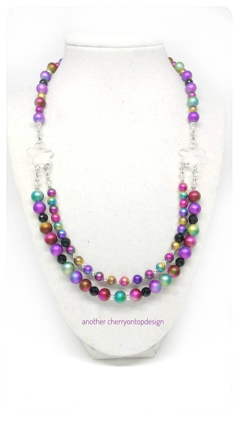 Multicolor 2 strand necklace flowers fuschia black silver image 0