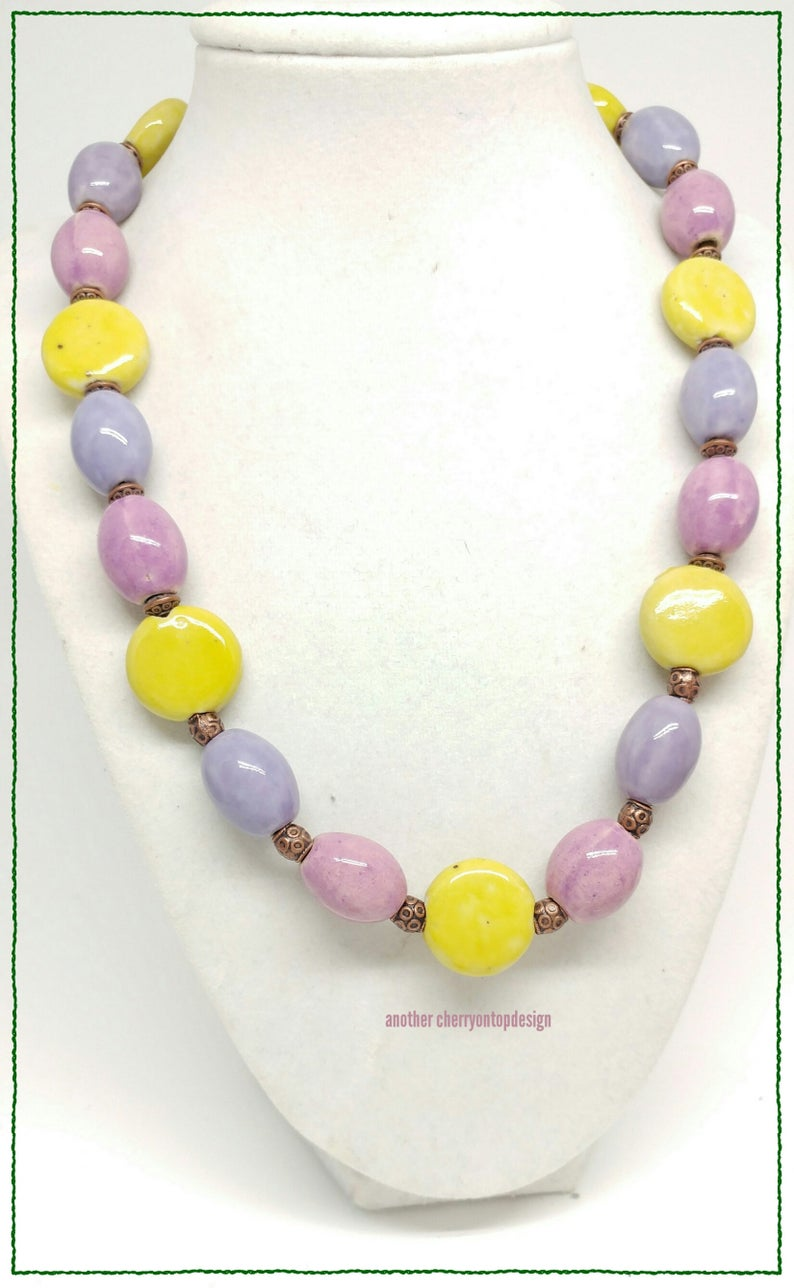 Orchid Pink Purple Yellow Porcelain Necklace with Copper image 0