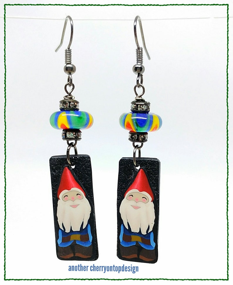 Quirky Gnome Earrings lightweight dangle earrings fairy lovers image 0