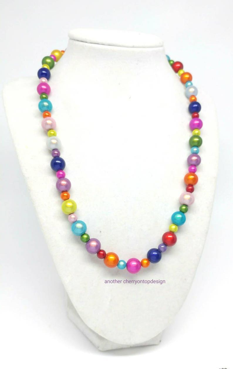 Rainbow mermaid necklace gift for her versatile jewelry image 0