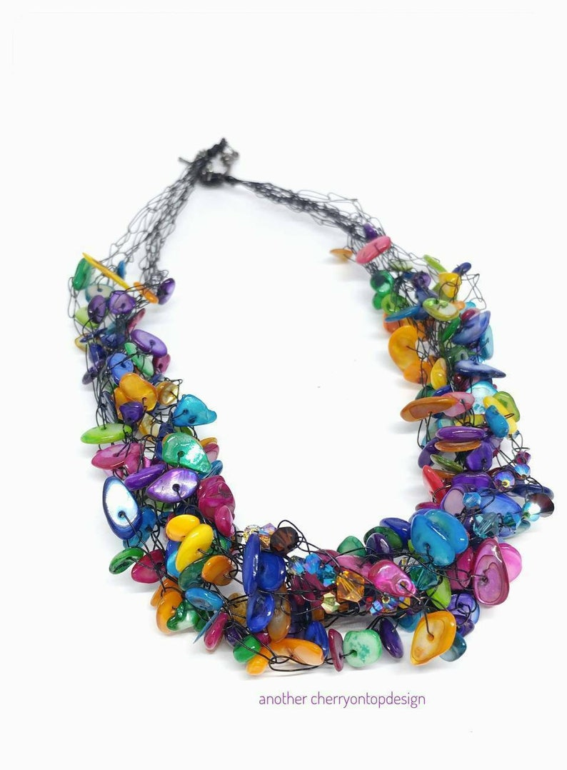 Rainbow multistrand necklace mother of pearl MOP FREE shipping image 0