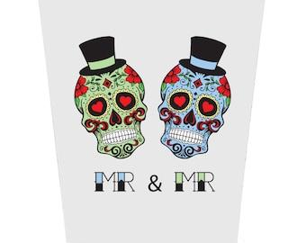Sugar Skulls Groom and Groom Wedding Card