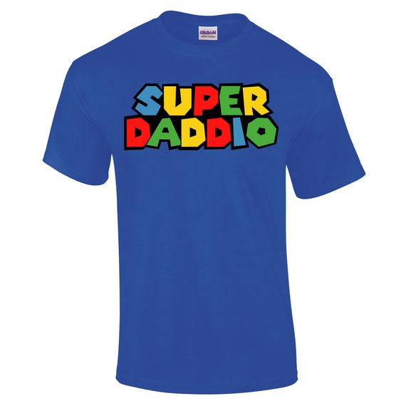 Super Daddio Mario Brothers Inspired Funny Unisex Men/'s Comedy Black T-Shirt