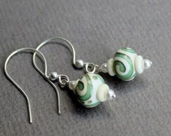 Sea Foam Swirls- Sterling Silver Jewelry Earrings - Free U.S Shipping-Birthday -Anniversary