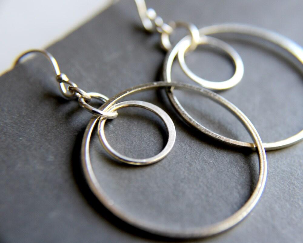 simple double hoop earrings sterling silver jewelry etsy. Black Bedroom Furniture Sets. Home Design Ideas