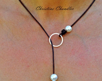 Pearl and Leather Necklace - Sterling Silver Circle Leather Necklace - Leather Jewelry - Multi option Jewelry - Lariat - One Pearl - 3 Pearl