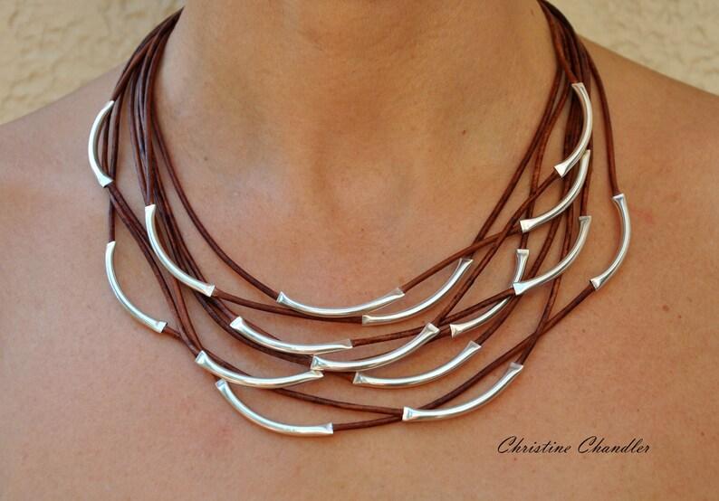 4230e2e5a3a8 Collar de cuero cuero y joyería de plata esterlina de plata