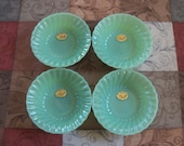 4 Jadite Fire King Shell Pattern Cereal Bowls w Label