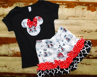 Disney Outfit...Minnie Top Tank or Shirt, with Double Ruffle Shorts, 3-6m to 8 years.