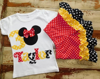 b151e5902 Girls Minnie Mouse Disney Outfit, Minnie Mouse Birthday, Minnie Top Tank or  Shirt, with Double Ruffle Shorts, 3-6m to 8 years