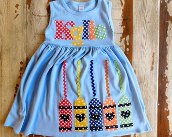 58bb83fe384f Back to School Crayon Dress, Personalized Crayon Dress, Preschool Dress,  School Dress, Long Sleeved or Sleeveless 3 colors, 3-6m to 8yrs