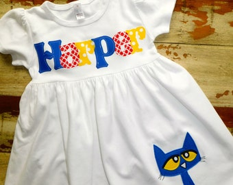 e2418ac6465546 Pete The Cat Personalized Dress, Pete Birthday, 3 sleeve options Short,  Long or Sleeveless, 3-6m to 8yrs