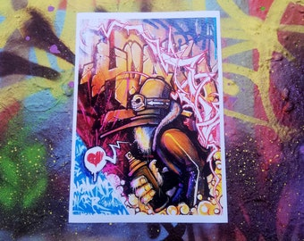 Bags - A4 graffiti art poster print canvas painting by Hoakser