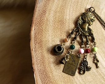 Victorian Stitch Marker Necklace - Aged Bronze - Charm Necklace - for Knit and Crochet