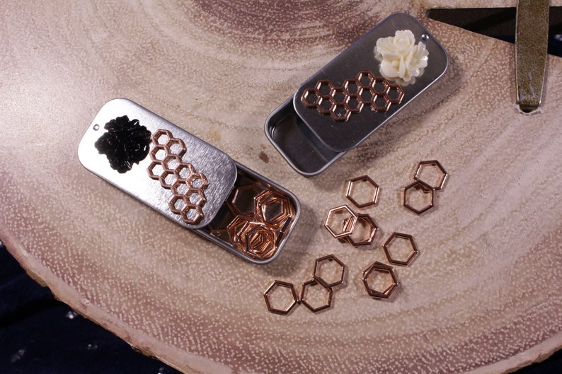 Rose Gold Honeycomb Black or White Floral NEW Rectangle Notions Tin for Makers for Knitters