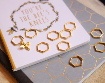 Choose Your Size - Beekeepers Stitch Markers for Knitting - Gold Hexagon Closed Ring Markers - Knitting Notions