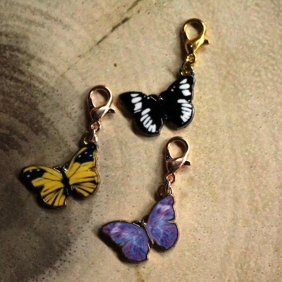 5 marcadores de Esmalte Mariposa Puntada//Fila Anillo De Crochet Tejer /& o langosta broche