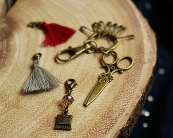 Sewing Kit Knit and Crochet Notion Keychain - includes a stylish variety of notions for your crafting needs