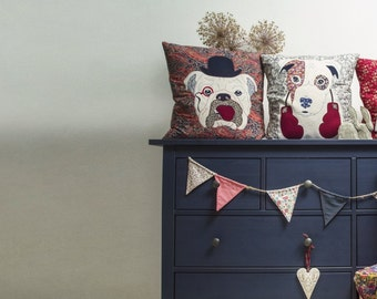 Custom design - applique of your pet on a Liberty London Cushion