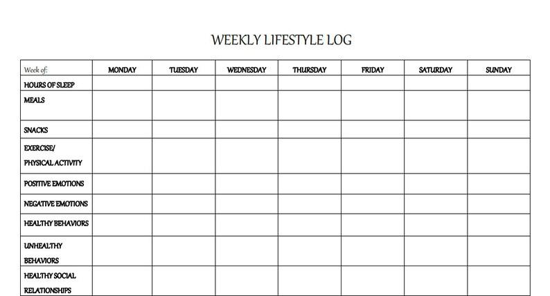 Weekly Lifestyle Mental Health Worksheet PDF Download   Etsy