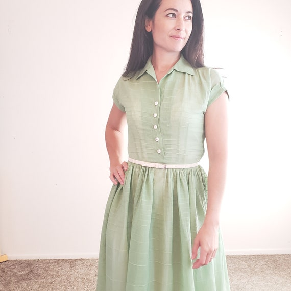 1940s Vintage Sage Green Semi Sheer Cotton Dress