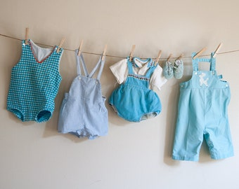 1970s Vintage Baby Boy Clothing / Vintage Carters blue Jumpers Overalls Romper Polo Shirt and Shoes